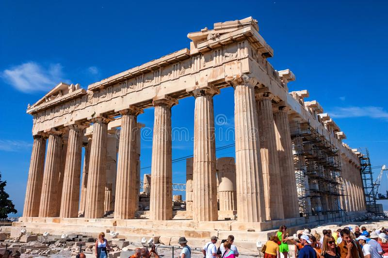 ATHENS, GREECE - JUNE, 2011: Parthenon ruins. ATHENS, GREECE - JUNE, 2011: Ruins of ancient temple of Parthenon, popular tourist attraction royalty free stock images