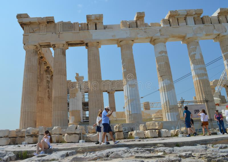 Parthenon temple in Acropolis in Athens, Greece on June 16, 2017. stock photos