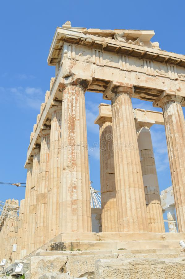 Parthenon temple in Acropolis in Athens, Greece on June 16, 2017. ATHENS, GREECE - JUNE 16: Parthenon temple in Acropolis in Athens, Greece on June 16, 2017 royalty free stock photography