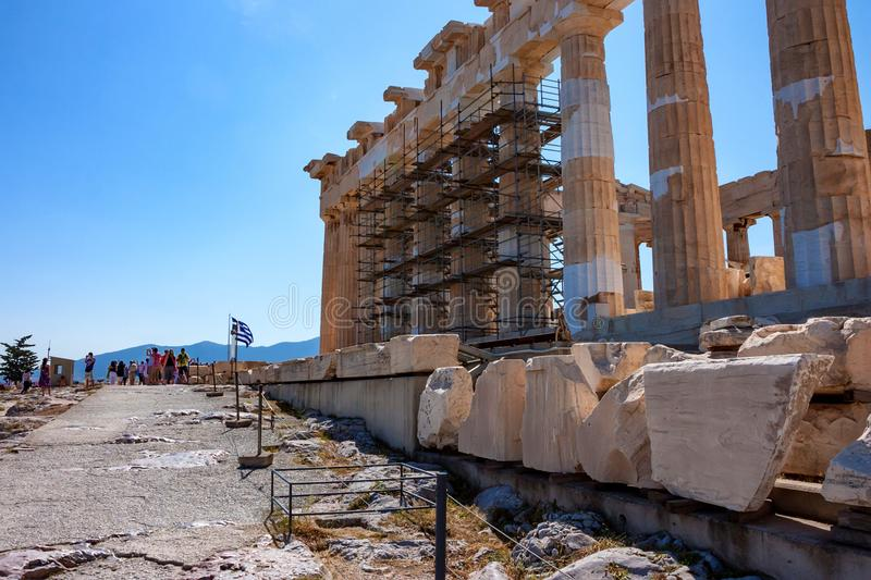 ATHENS, GREECE - JUNE, 2011: Parthenon ruins. ATHENS, GREECE - JUNE, 2011: Ruins of ancient temple of Parthenon, popular tourist attraction stock images