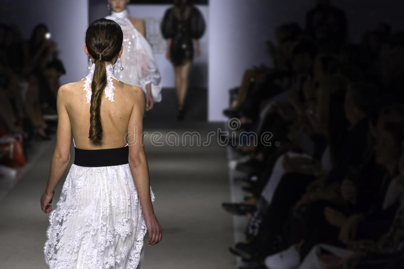 ATHENS, GREECE - Mar 29, 2018, Athens Xclusive Designers Week. Models walk runway for Athens Xclusive Designers Week royalty free stock photography