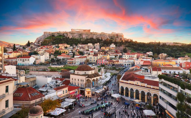 Athens, Greece - Monastiraki Square and ancient Acropolis royalty free stock photo