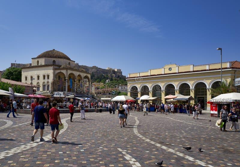 Athens Greece. Monastiraki square midday stock image