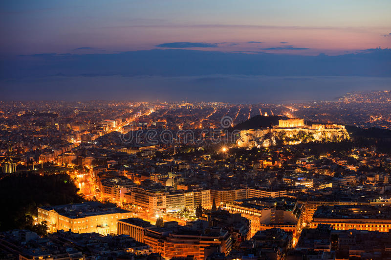 Athens, Greece at night royalty free stock photography