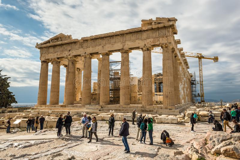 Parthenon temple on the Acropolis in Athens, Greece stock photography