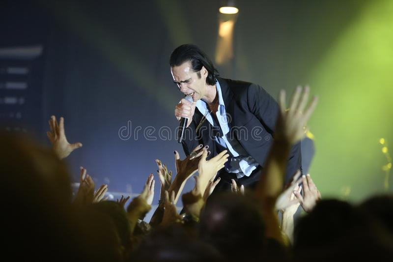 Nick Cave. Athens, Greece - November 16, 2017: Nick Cave and the Bad Seeds band, performs at Faliro Sports Arena on Nov 16, 2017 in Athens, Greece royalty free stock photos