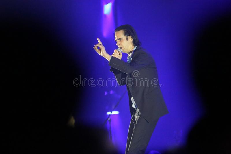 Nick Cave. Athens, Greece - November 16, 2017: Nick Cave and the Bad Seeds band, performs at Faliro Sports Arena on Nov 16, 2017 in Athens, Greece stock photos
