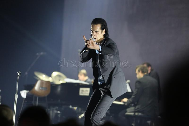 Nick Cave. Athens, Greece - November 16, 2017: Nick Cave and the Bad Seeds band, performs at Faliro Sports Arena on Nov 16, 2017 in Athens, Greece royalty free stock image
