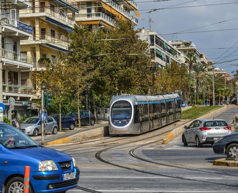 City railway in Athens, Greece. Athens, Greece - Oct 11, 2018. City railway in Athens, Greece. Athens is a global city and one of the biggest economic centres in stock photo