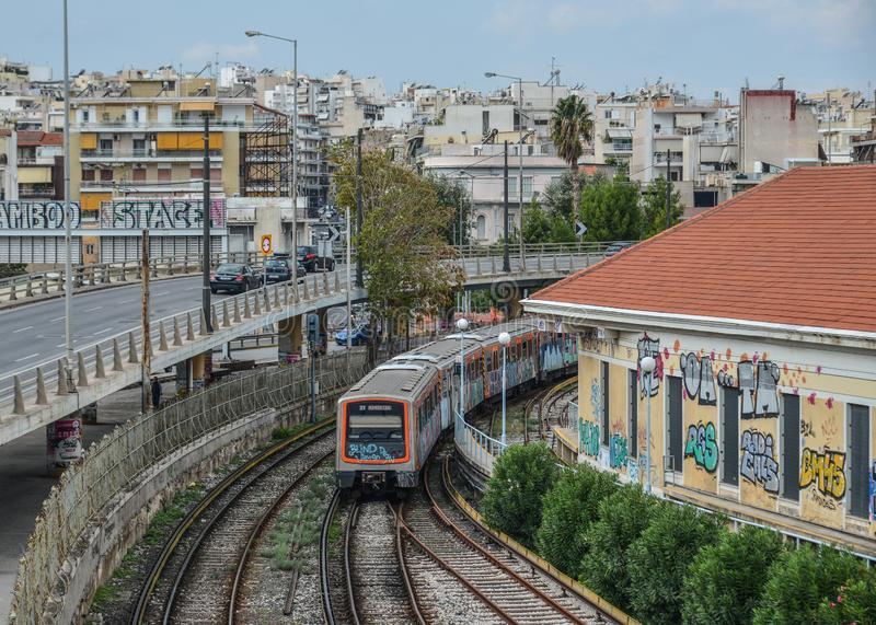 City railway in Athens, Greece. Athens, Greece - Oct 11, 2018. City railway in Athens, Greece. Athens is a global city and one of the biggest economic centres in royalty free stock image