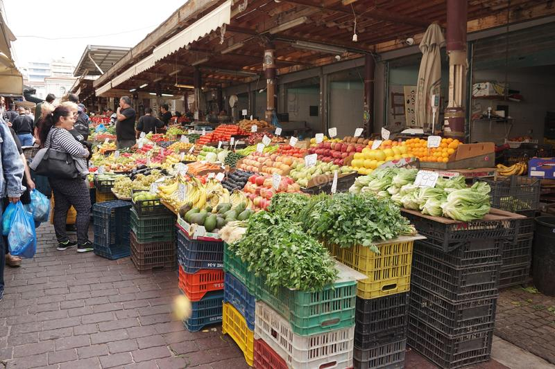 ATHENS - GREECE - OCTOBER 05 2018 Fruit and vegetable market in the Monastiraki district royalty free stock photography