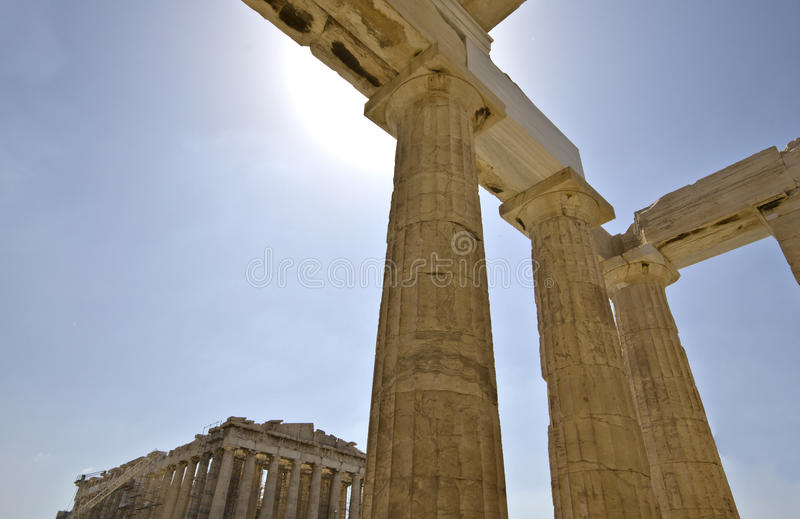 athens Greece parthenon propylaea zdjęcia stock