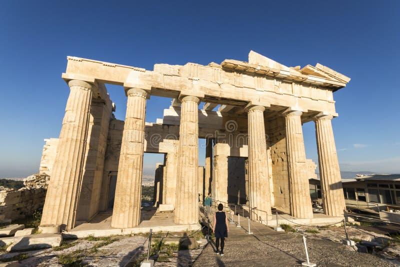 athens greece propylaea arkivbilder