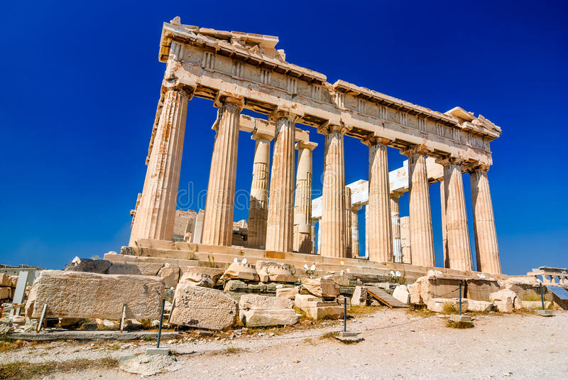 Athens, Greece. Ruins of Parthenon temple on the Acropolis heritage of Athens stock photos