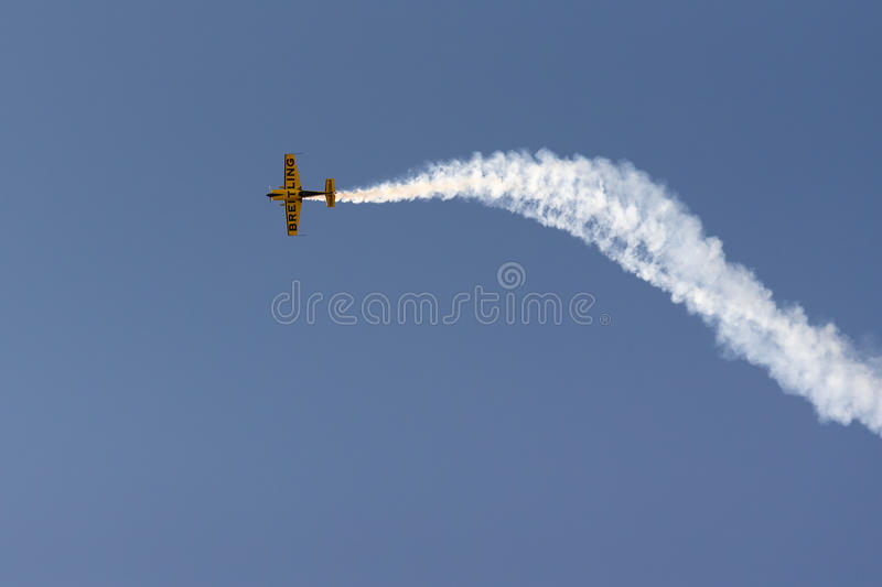 Athens, Greece 13 September 2015. Aerobatics up in the sky at the Athens air week flying show. stock image