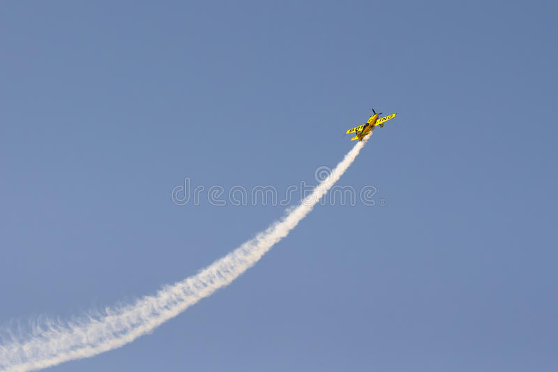 Athens, Greece 13 September 2015. Aviator plane doing tricks up in the sky at the Athens flying week air show. royalty free stock image