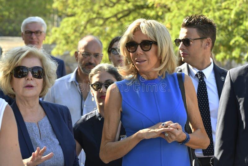 Emmanuel Macron's wife Brigitte Macron in Athens. Athens, Greece - September 8, 2017: President of France, Emmanuel Macron's wife Brigitte Macron visit the royalty free stock image