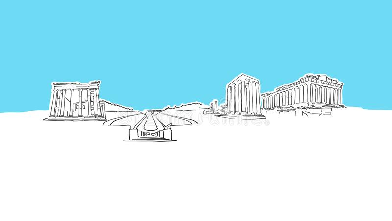 Athens Greece Skyline Panorama Vector Sketch vector illustration