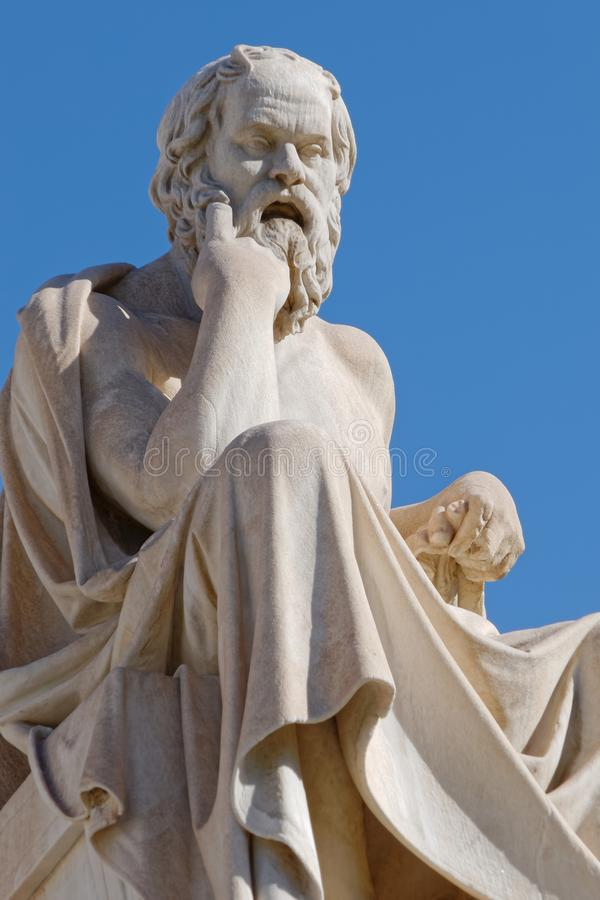 Socrates the greek philosopher statue on blue sky background. Athens Greece, Socrates the greek philosopher statue on blue sky background stock images