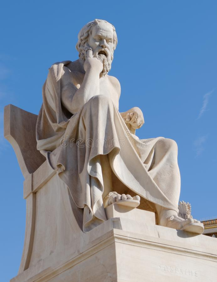 Athens Greece, Socrates the philosopher statue. On blue sky background royalty free stock photos