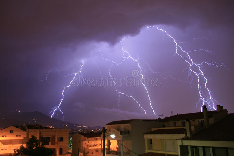 Athens, Greece, Thunder and lightning royalty free stock images