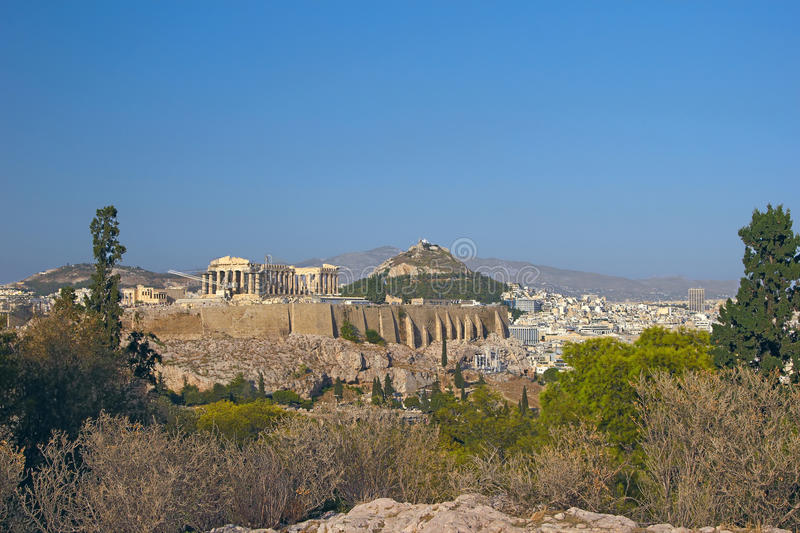 Athens, Greece. View at Acropolis and Lycabetus hill, Athens, Greece royalty free stock photos