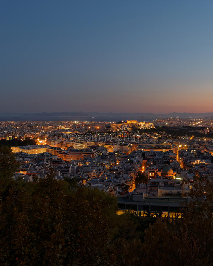 Athens Greece, view in the dusk. From the northern part of Acropolis royalty free stock images
