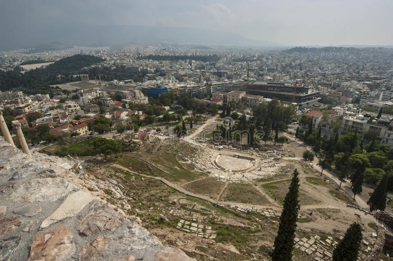 ATHENS/GREECE View over Athens from Acropolis royalty free stock photo