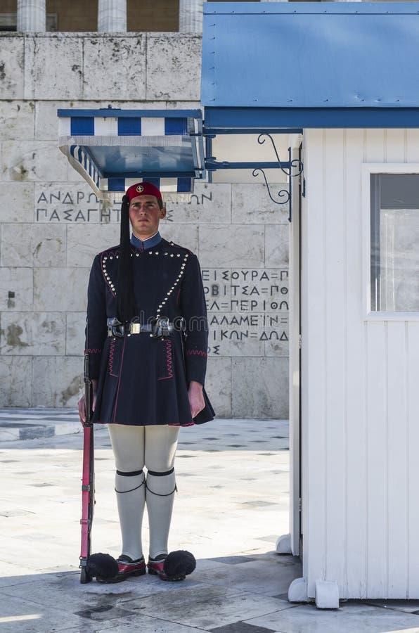 Evzone (presidents- ceremoniell vakt) av Grekland royaltyfria foton