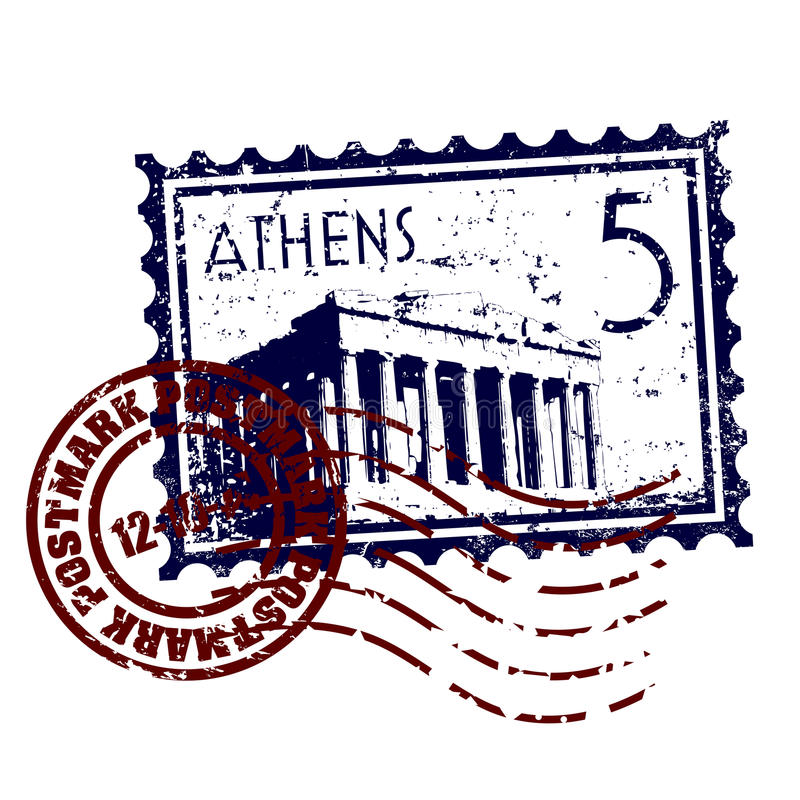athens grunge postmark znaczka styl ilustracja wektor
