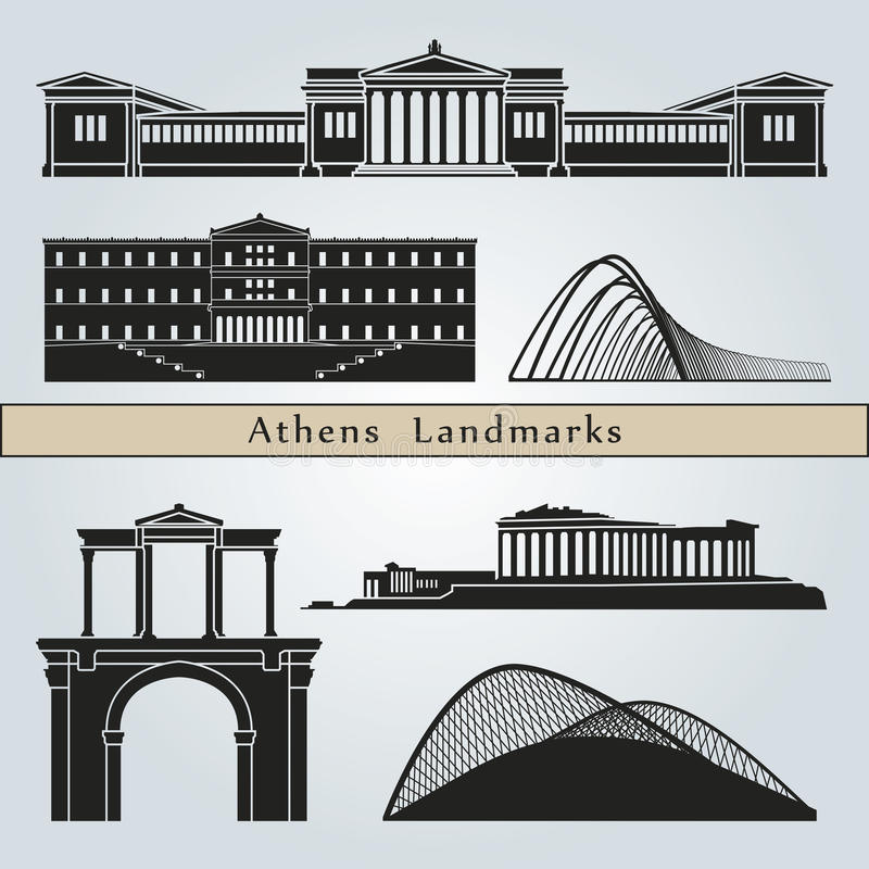 Athens landmarks and monuments vector illustration