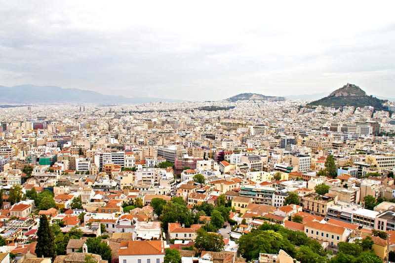 Athens and Lycabettus hill stock images