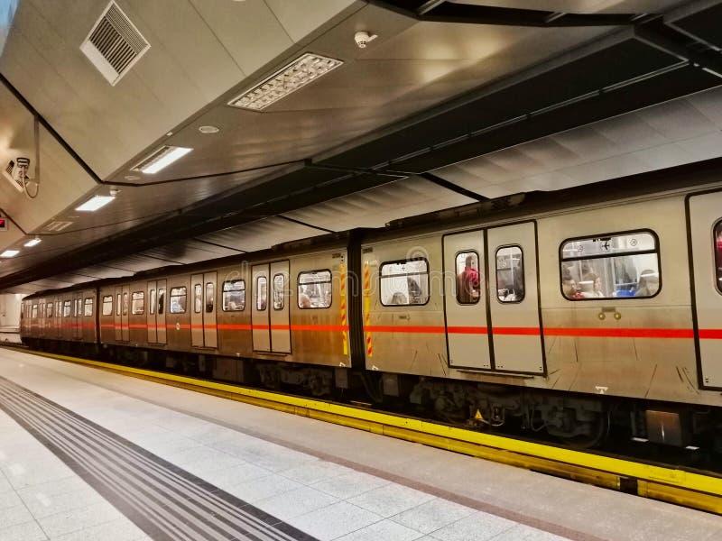 Athens Metro Train at Underground Station Platform, Greece. Athens Metro Train at Underground Station Platform,. Mde royalty free stock image