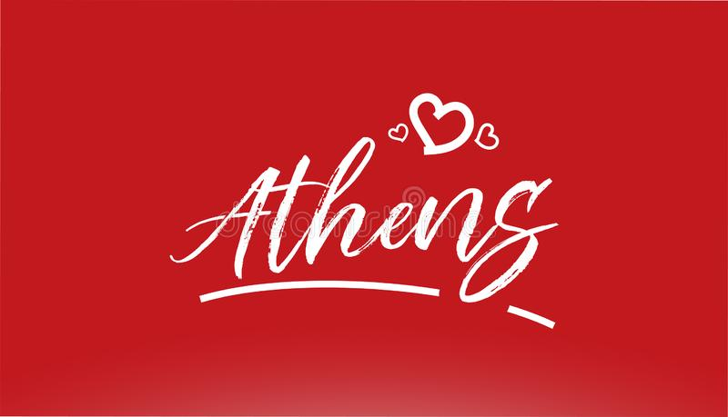 athens miasta białej ręki pisać tekst z kierowym logo na czerwonym tle ilustracja wektor