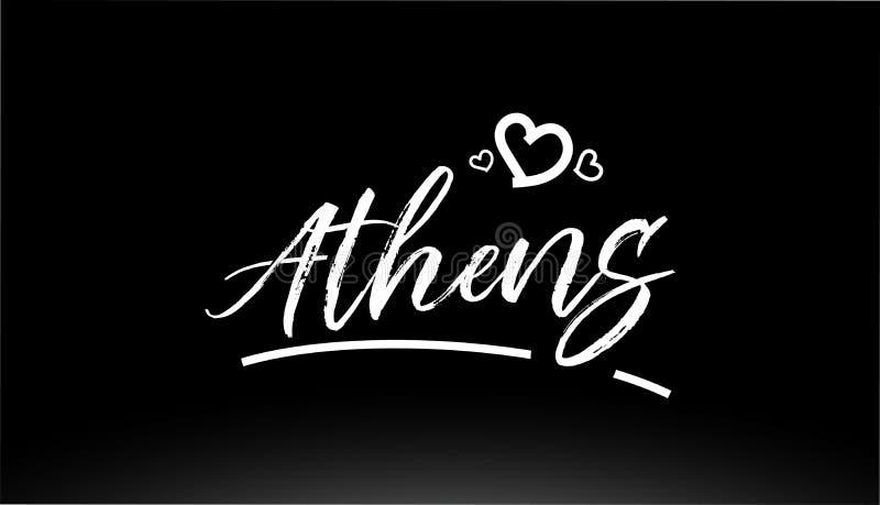 athens miasta czarny i biały ręki pisać tekst z kierowym logo ilustracja wektor