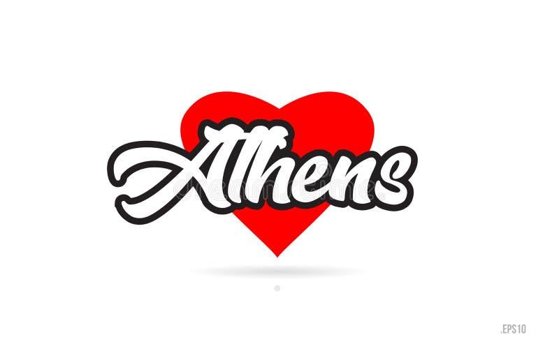 athens miasta projekta typografia z czerwonym kierowym ikona logem ilustracja wektor