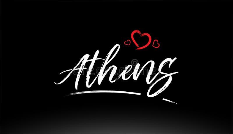 athens miasta ręki pisać tekst z czerwonym kierowym logo ilustracji