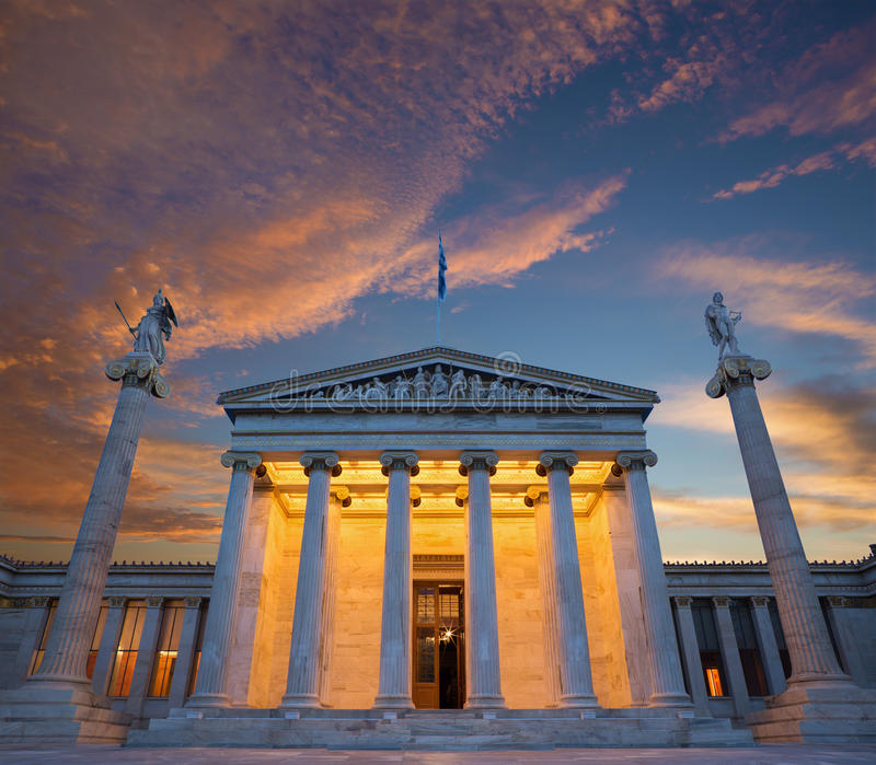 Athens - The National Academy building in morning stock photos