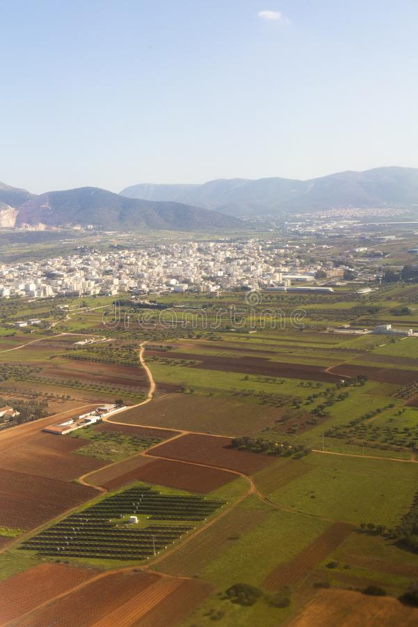 Athens outskirts and the landscape. View from airplane in Greece stock photos