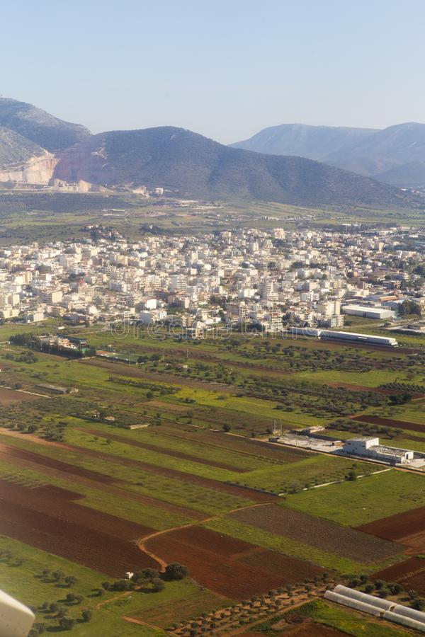 Athens outskirts. View from airplane stock photo