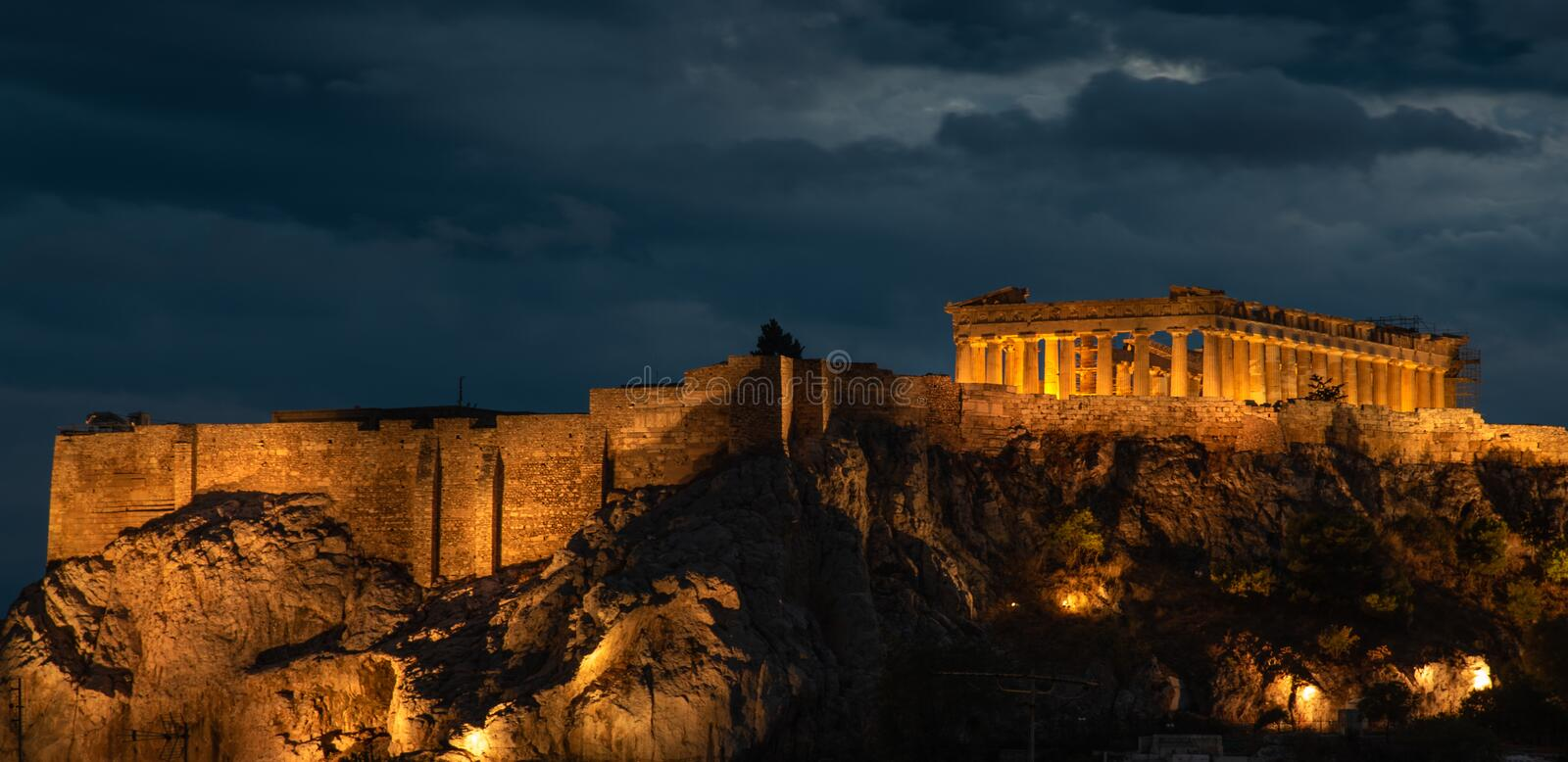 Athens Parthenon at Acropolis hill , during a cloudy sunset in Greece royalty free stock photo