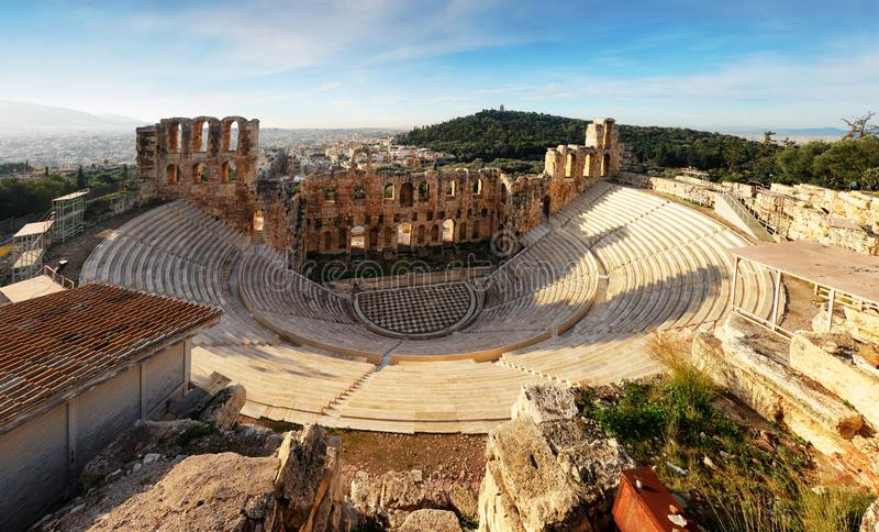 Athens - Ruins of ancient theater of Herodion Atticus in Acropolis, Greece royalty free stock images