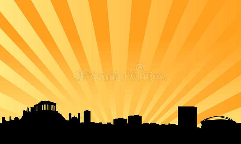 Athens skyline vector background royalty free illustration