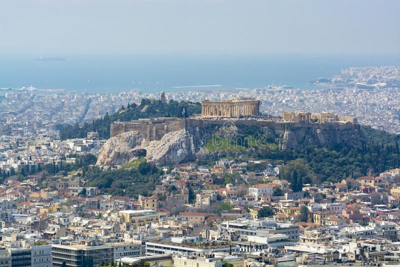 Athens in spring, view from hill,  cityscape with streets and buildings, ancient urbal culture. Athens, capital of Greece, in spring, view from hill,  cityscape stock photography