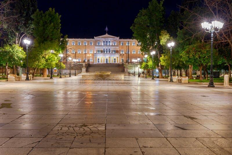 athens Syntagma kwadrat przy nocą fotografia stock
