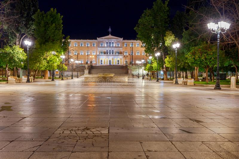 Athens. Syntagma Square at night. stock photography