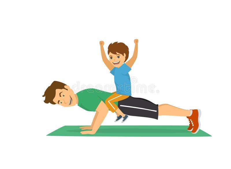 Ather i syn ma zabawę trenuje wpólnie, szczęśliwy rozochocony tata podnosimy sporta treningu ćwiczenie robić pcha ilustracja wektor