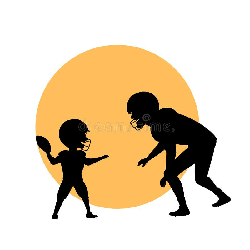 Ather and son, man and kid playing american football isolated vector illustration silhouette stock illustration