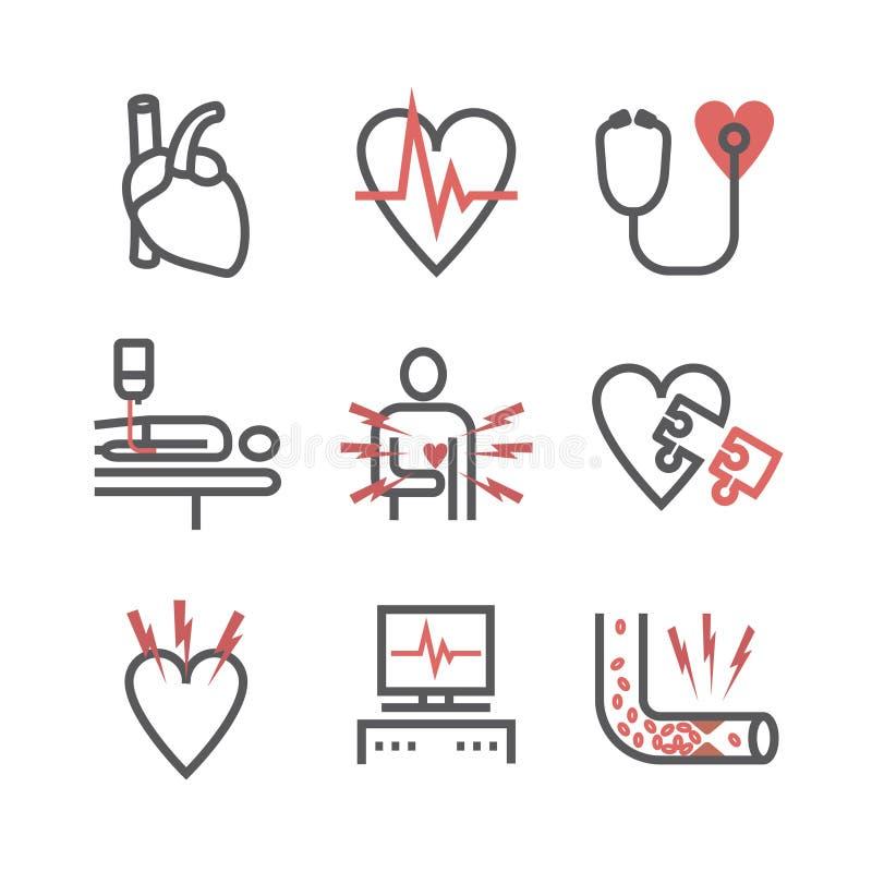 atherosclerosis Enfermedad de la arteria coronaria tratamiento Línea iconos fijados Muestras del vector para los gráficos del web stock de ilustración