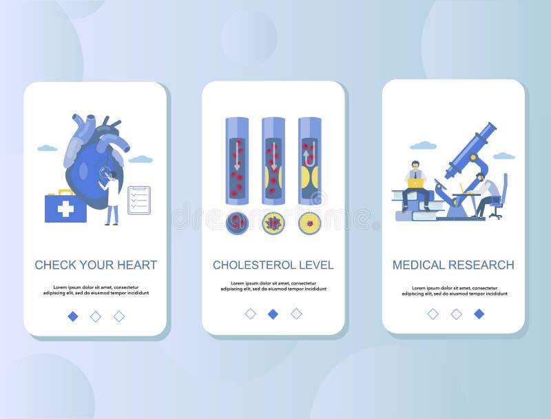 Atherosclerosis mobilnego app ekranów wektoru onboarding szablon ilustracji